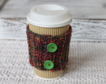 Coffee Cup Cozy,knittet wool coffee cozy,cable knitted cup cozy