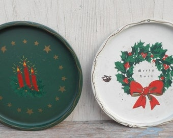 Pair of Metal Hand Painted Christmas Trays!