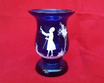 Cobalt Blue Mary Gregory Glass Toothpick Holder