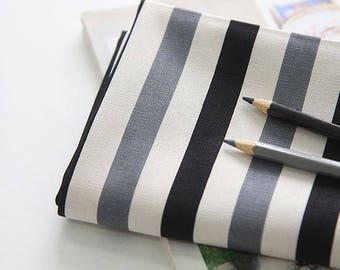 Striped Pattern 20s Cotton Oxford Fabric by Yard - Black and Gray
