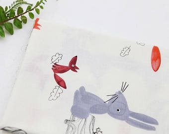 Fox and Rabbit Unbleached Cotton Fabric by Yard