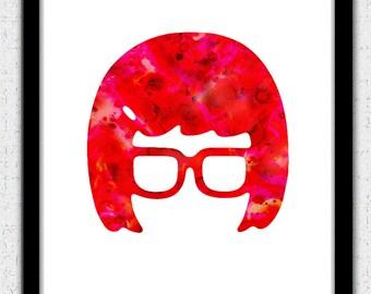 Tina Belcher, Tina Belcher silhouette, Tina Belcher print, red Tina Belcher art, Tina Belcher painting, Tina Belcher poster