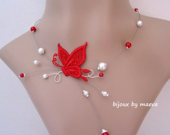 Wedding Jewelry Necklace Beads and Red Butterfly for Bride