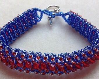 Beaded Swarovski Crystal Bracelet-Red/Blue-8 in.