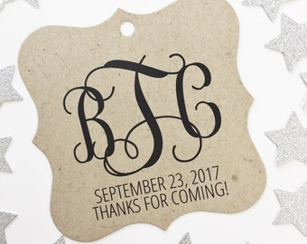 Monogram Favor Tags, Initials Wedding Kraft Favor Tags, Thank You Wedding Hang Tags  (FS-155-KR)