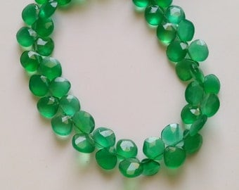"""Natural Green onyx Faceted Heart Briolettes- 8"""" Strand -Stones measure- 8 mm Appx."""