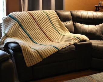 Afghan- Throw- Off-White-Oatmeal-colorful stripes- Crochet- Handmade