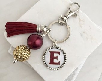 Elon University Key Chain, Elon Keychain, Elon Phoenix, Maroon and Gold, Game Day Key Chains, GameDay Keychain, GameDay