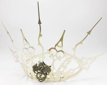 Gold Tiara - Dragon Crown - Gold Crown - Gothic Tiara - Evil Queen Crown - Dragon Tiara - Evil Tiara  - Gold Steampunk Crown - Fairy Crown