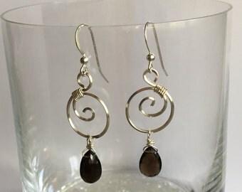 Sterling Silver Swirl Smoky Quartz Earrings