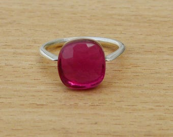 Round Faceted Tourmaine Quartz Gemstone Ring, 925 Sterling Silver Ring, Birthstone Gift Ring,  Handmade Pink Tourmaline Ring Jewelry