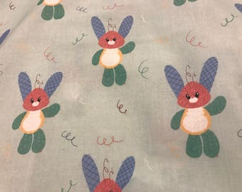 Cute Patchwork Bunny Fabric Squares - 10x10""