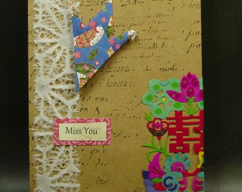 Miss You Card/ Origami Crane and Rice Paper Cutout Card/ Hand Made Greeting Card/ Peace Love