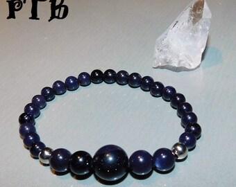 "Cosmic Knowledge ~ Authentic Natural Blue Goldstone Gemstone Bracelet 7 1/2"" stretch"