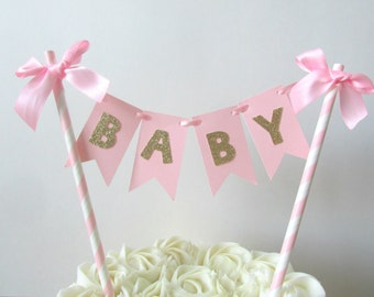 Girl Baby Shower Cake Topper It's A Girl Cake Topper Baby Cake Topper Baby Cake Bunting Pink Gold Baby Shower Pink Gold Sprinkle Baby Decor