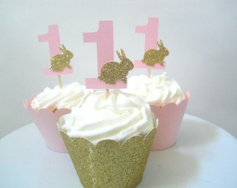 Some Bunny Is One Cupcake Toppers Pink Gold First Birthday Decorations Some Bunny Is One Decorations Bunny Birthday Decor Age Cupcake Topper
