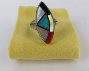 Zuni multi stone inlay ring