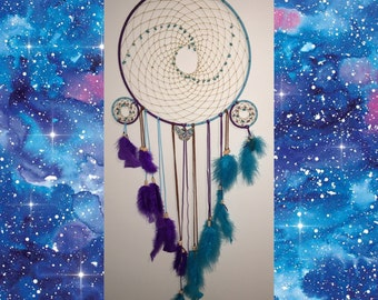 Wavy Turquoise & Amethyst Dreamcatcher -Large