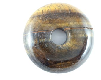 35 mm Tiger Eye Donut Shaped Stone for Jewelry Making or Pocket Stone. You will receive stone pictured.