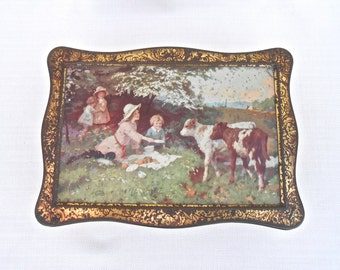 Vintage Collectable Tin - Children with Cows - Wright's Biscuits Ltd - Metal Biscuit Tin, Collectible Tin, Advertising Tin, English Tin