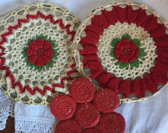 Three Vintage Crocheted Trivits ; Green and Red Roses
