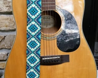 Blue and Teal Aztec Threaded Guitar Strap; Statement Guitar Strap; Unique Guitar Straps; Handmade Straps; Gift for Her; Guitar Straps