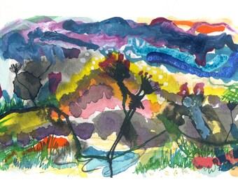 Les amoureux, The Lovers, Original print , watercolour landscape, Art Print