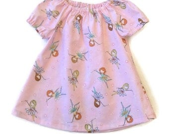 BABY DRESS FAIRIES, pink peasant dress size 3 6 12 18 24 mths, dresses for babies, baby peasant dress, infant dress
