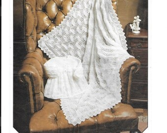 Vintage baby shawl and coat / jacket 4 ply wool - knitting pattern PDF