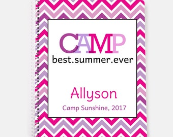 Camp Spiral Notebook, Personalized Summer Camp Notebook, Sleepaway Camp Journal, Care Package Camp Gift for Girls, Pink Chevron Camp Book