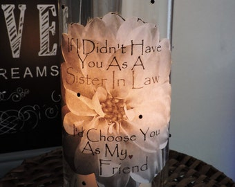Sister in Law Candle Holder   Sister in Law Gift   Sister in Law Birthday Gift   Gifts for Sister in Law   Sister in Law Bridesmaid Gift