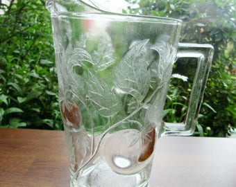 Pitcher Juice Water Pressed Glass Kitchen Dining Drinkware B