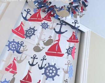 Whale mobile, sailboat mobile, paper mobile, nursery mobile, anchor mobile, nautical baby mobile