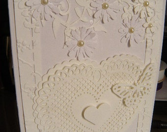 White pearls and lace 5x7 Handcrafted greeting card