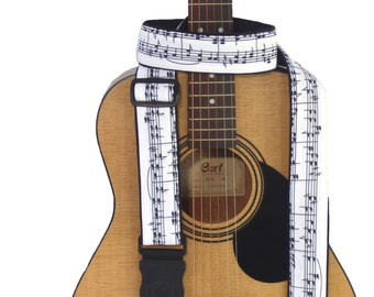 Music Notes Guitar Strap. Black and White. Handmade Guitar Accessory for All Types of Guitars. German Genius Leather endings. Durable cloth.