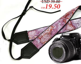 InTePro DSLR / SLR Camera Strap. World Map Camera Strap. Camera accessories. Photographer gift.