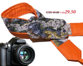Bright orange World Map Camera Strap. DSLR / SLR Camera Strap with pocket. Photographer gift. Europe. Asia. America.