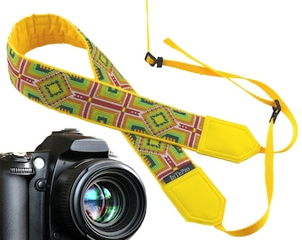 Native American Inspired Camera Strap. Yellow & green design with ornament for unisex gift