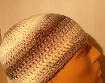 Gray, and white kufi beanie skullcap crochet large
