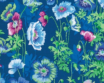 Snow Leopard Poppies Twilight Blue cotton fabric, Philip Jacobs