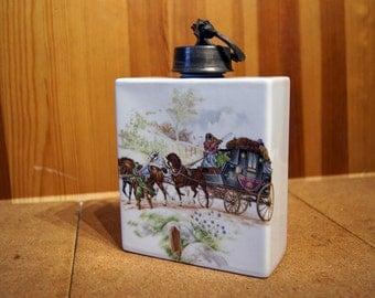 Vintage porcelain drink flask. Made in Germany
