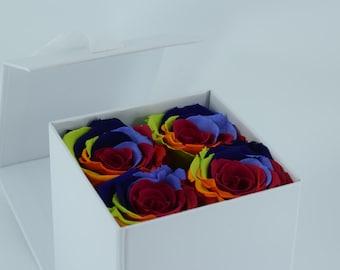 Rainbow Rose - White Gift Box