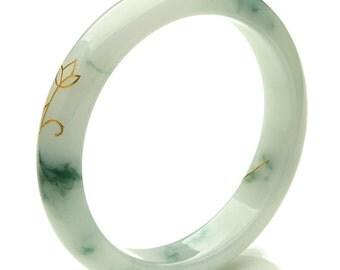 Jadeite Jade Bangle Bracelet 55mm Floating Blueish Green Wrap Gold (Grade A Jade) Certified