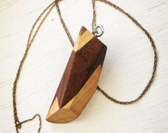 Poplar & Black Walnut pendant necklace