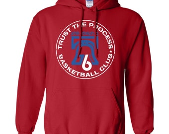 Red Trust The Process Basketball Club Retro Pullover Hoodie