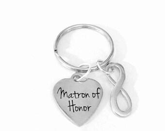 Matron Of Honor Gift, Wedding Keychain, Bridal Party Gift Infinity Keychain