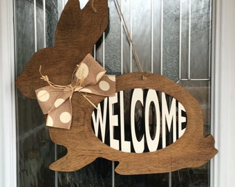 FAST SHIPPING- Welcome door decor, welcome door hanger, bunny door hanger, easter door hanger, easter bunny, spring door decor, spring decor
