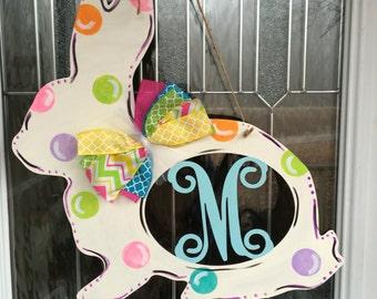Monogram door hanger, monogram bunny door hanger, monogram rabbit door hanger, easter door hanger, spring door decor, easter, bunny, spring