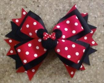 Minnie Mouse Hair Bow Red and Black Polka Dot Minnie Bow Double Tuxedo Bow Disney Bow