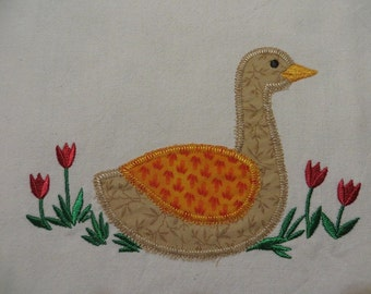 Applique Goose Towel